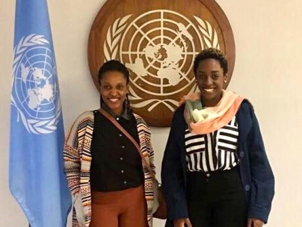 Grace Giramahoro, left, and Brenda Umutoniwase toured the United Nations Feb. 16 with nearly 90 Cornell undergraduate and graduate students.