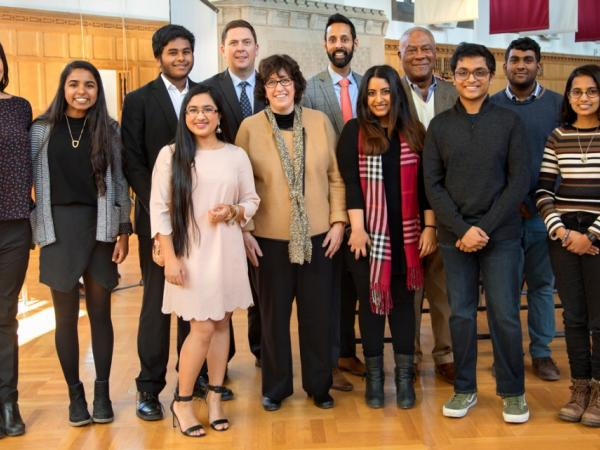 Senior leaders join with South Asian Council students at the annual Perkins Prize reception.