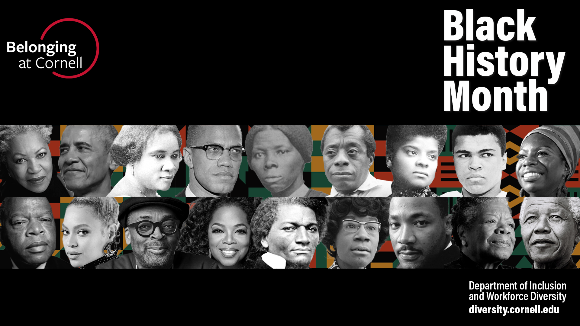 Zoom background visual for Black History Month with kente cloth and 18 cultural and historical figures in front of cloth