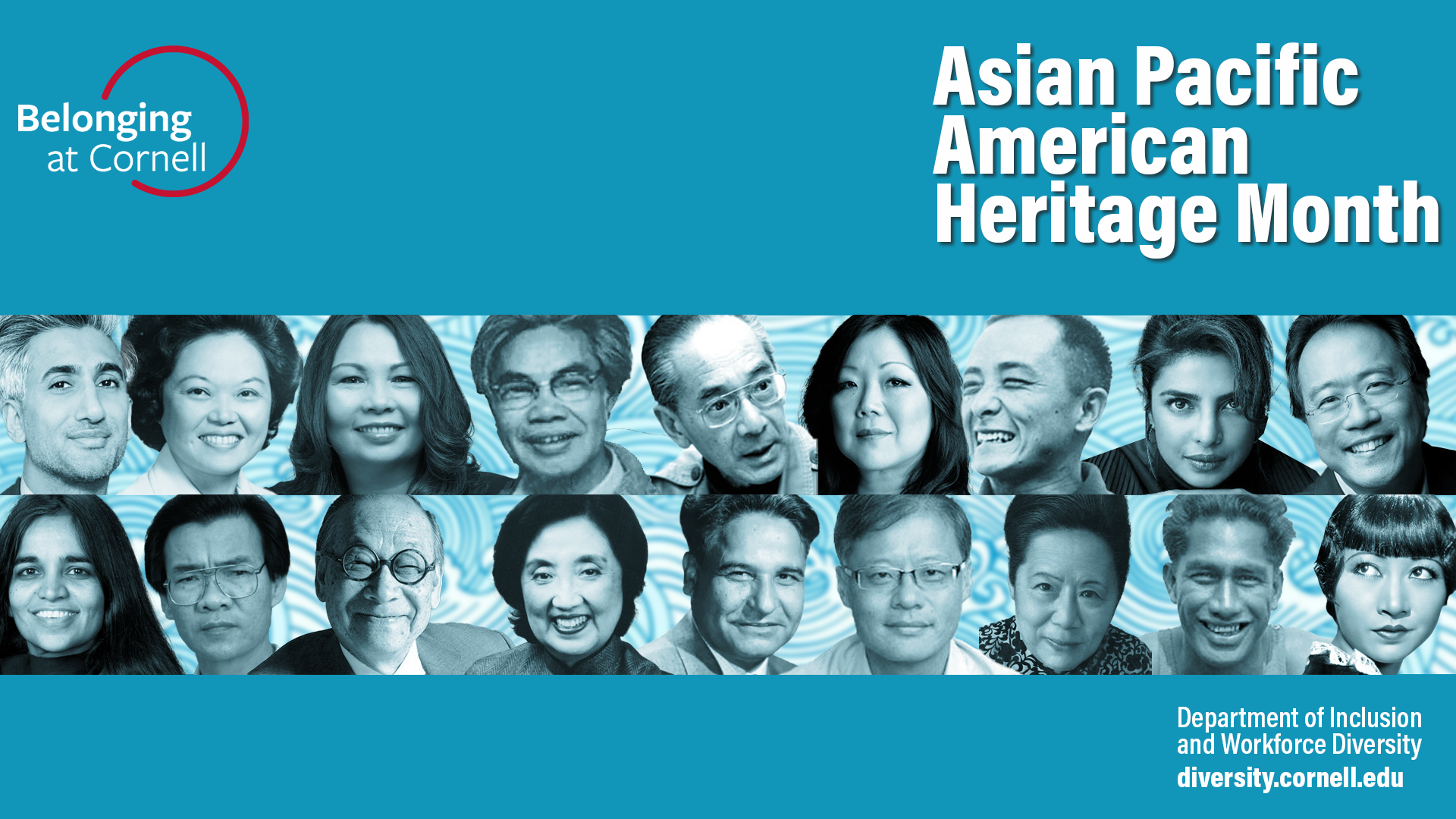 Zoom background (historical and cultural figures) visual in honor of American Pacific Heritage Month