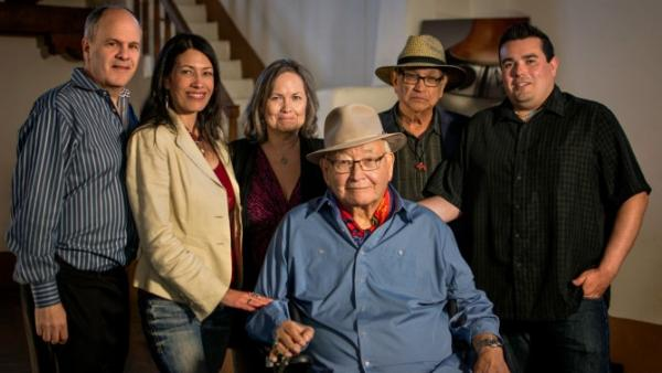 "The team behind ""N. Scott Momaday: Words From a Bear."" Back row, from left: Michael Kantor, executive producer; Jill Momaday; Shirley Sneve, executive producer; Gus Palmer Jr.; Jeffrey Palmer, director. Front row: N. Scott Momaday. The film is part of PBS' ""American Masters"" series."