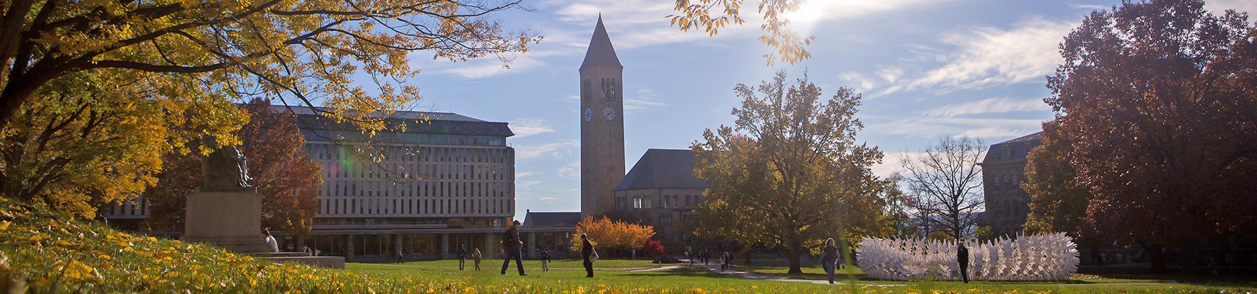 Cornell University landscape with clock town in the background